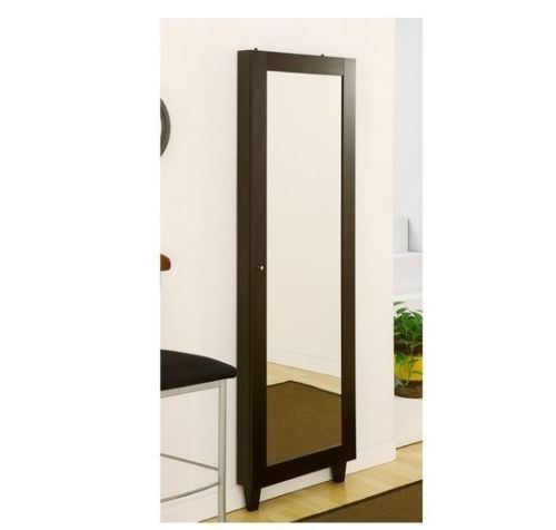 Jewelry Armoire Storage Holder Full Length Mirror Wall