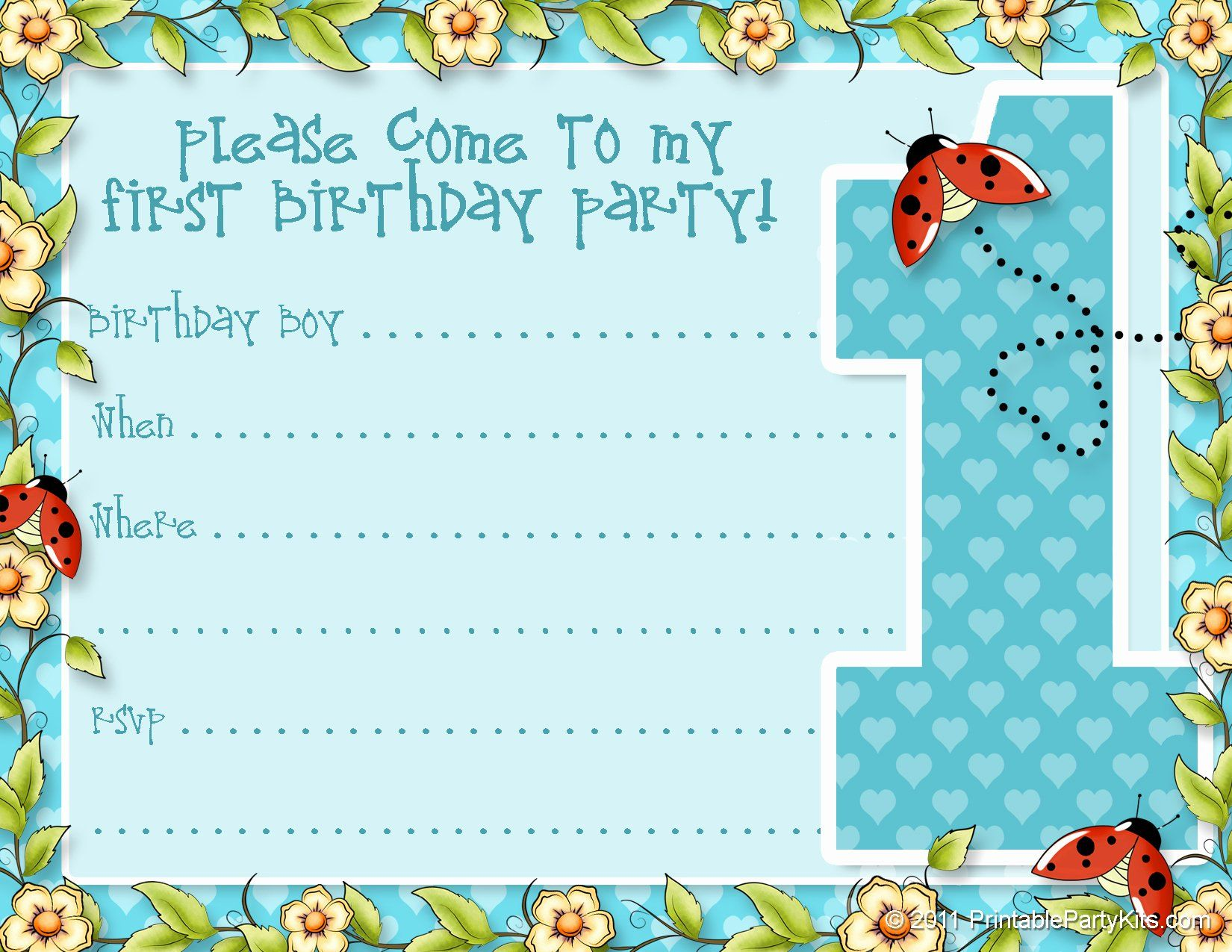 Kid Birthday Invitation Template New Printable 1st Birthday Party Announceme Boy Birthday Party Invitations Boy Birthday Invitations First Birthday Invitations