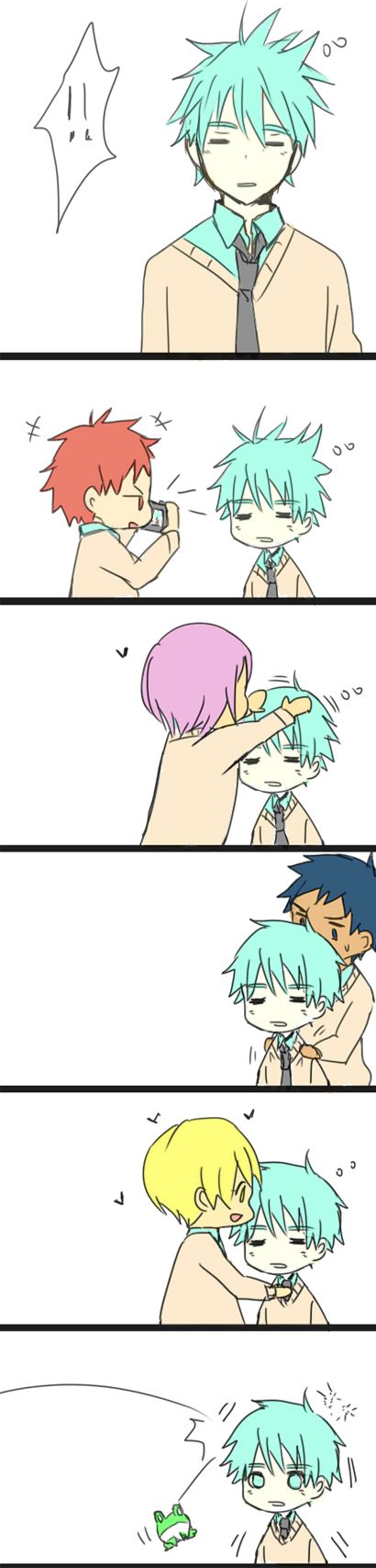 """Aww... I love how they all care for Kuroko, it's cute... Even Tsundere Midorima's willing to """"help!"""" XD"""