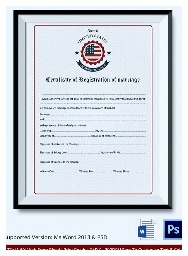 Designing Using Marriage Certificate Template for Your Own - marriage certificate template