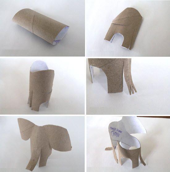 Comment faire un elephant en carton diy avec les enfants rouleau papier pinterest - Que faire avec des rouleaux de papier toilette vides ...