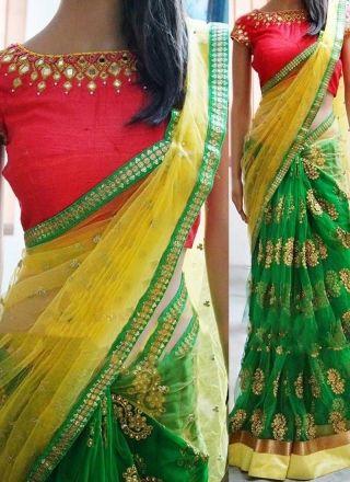 cd2764b25fa4c0 Green And Yellow Goldan Lace Border Mirror Work Half N Half Net Designer  Sarees More