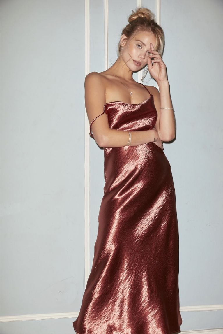 9c6e0f2dd050 Berri Slip dress Metallic cowl neck slip dress with adjustable straps Party  dress, metallic dress, cocktail dress, slip dress, wedding style, wedding  guest ...