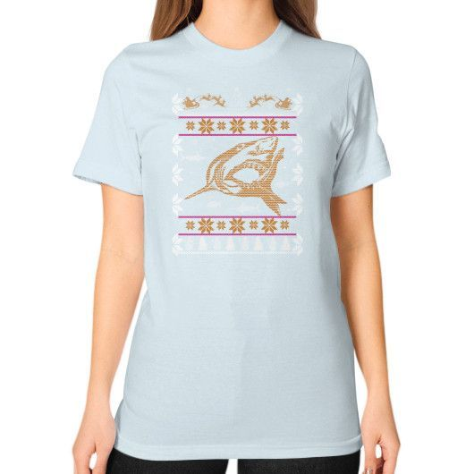 Merry christmas fish Unisex T-Shirt (on woman)