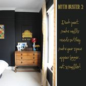 Dark paint makes walls recede so they make your space appear bigger, not smaller...,  #Bigger #dark #DreamHouseRoomswhitetrim #paint #recede #Smaller #space #walls