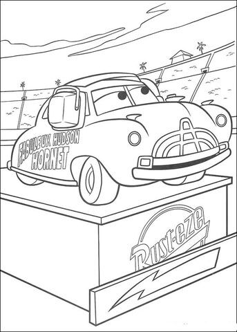 Doc Hudson On A Pedestal Coloring Page From Disney Cars Category