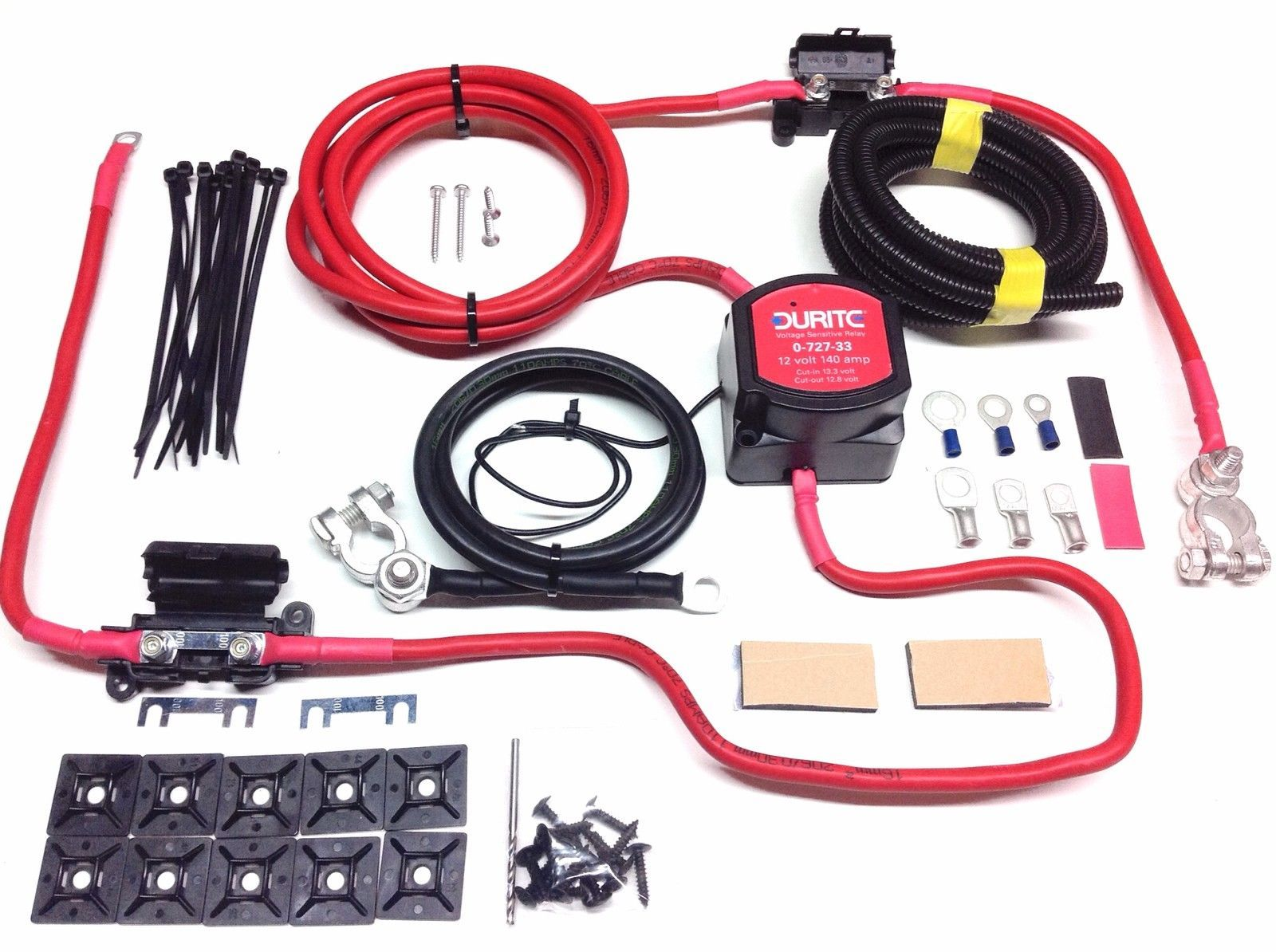 5mtr split charge kit 12v 140a durite vsr 110amp ready made split charge diode relays and flasher units, 12 volt