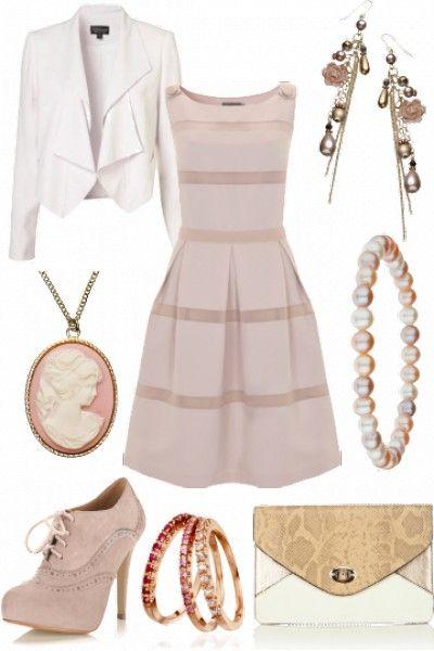 Neutral outfit - I like the dress, jacket, shoes and bracelets.