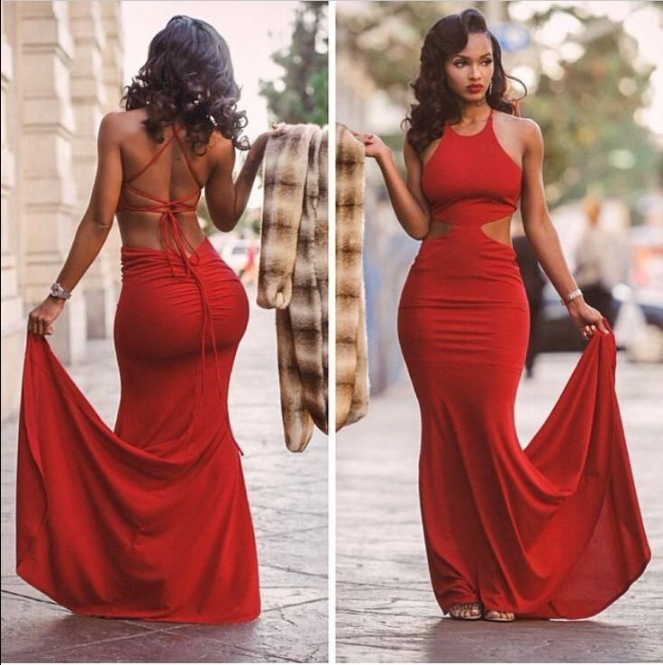 Tight Red Prom Dresses Long