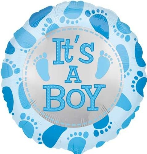 18 Its A Boy Baby Feet Blue Mylar Balloons Shower Decorations