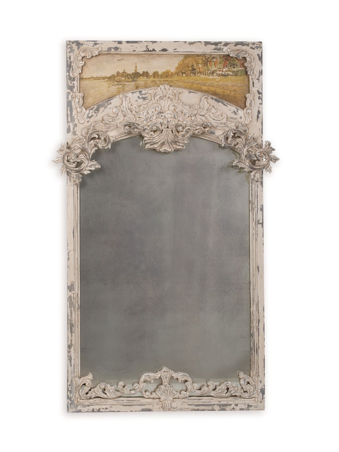 guildmaster. carved trumeau mirror.