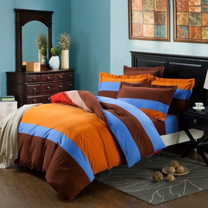 Boys Modern Cotton Bedding Sets in orange brown and