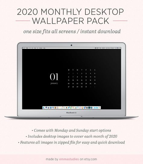 2021 Monthly Calendar Desktop Wallpaper Background   Minimalist Black   Instant Download   Laptop, Desktop, PC, Mac and iPad Organiser