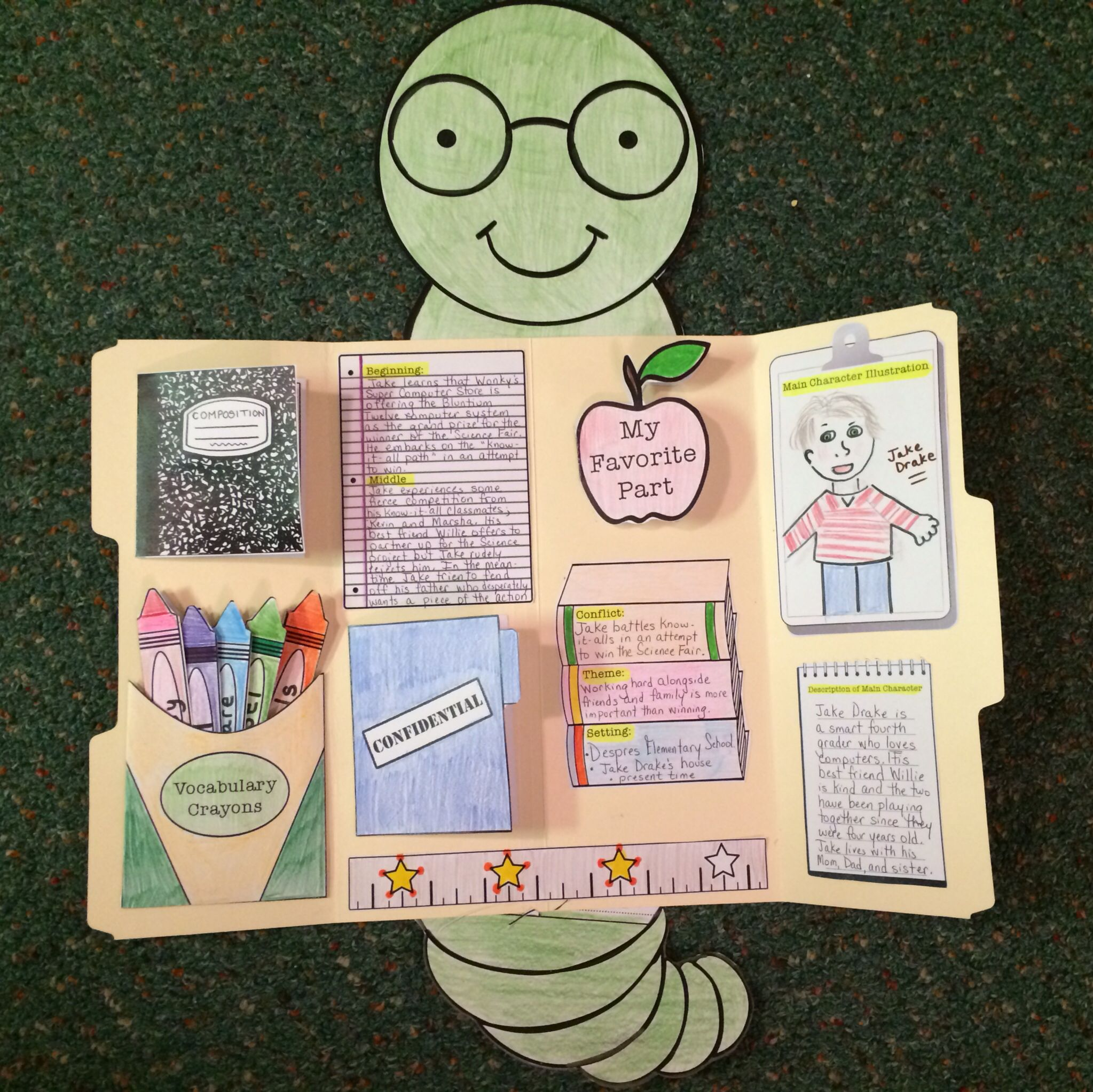 This cutie will make your students want to devour their books!!! Read, color, cut, and create a Book Report LapBook. Students will treasure their bookworms for years to come. (Composition Notebook, Vocabulary Crayons, Confidential Folder, and Teacher's Apple open to reveal important information inside!)