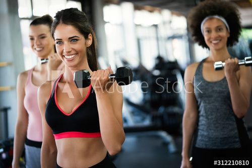Beautiful fit people exercising together in gym , #AD, #fit, #Beautiful, #people, #gym, #exercising #Ad