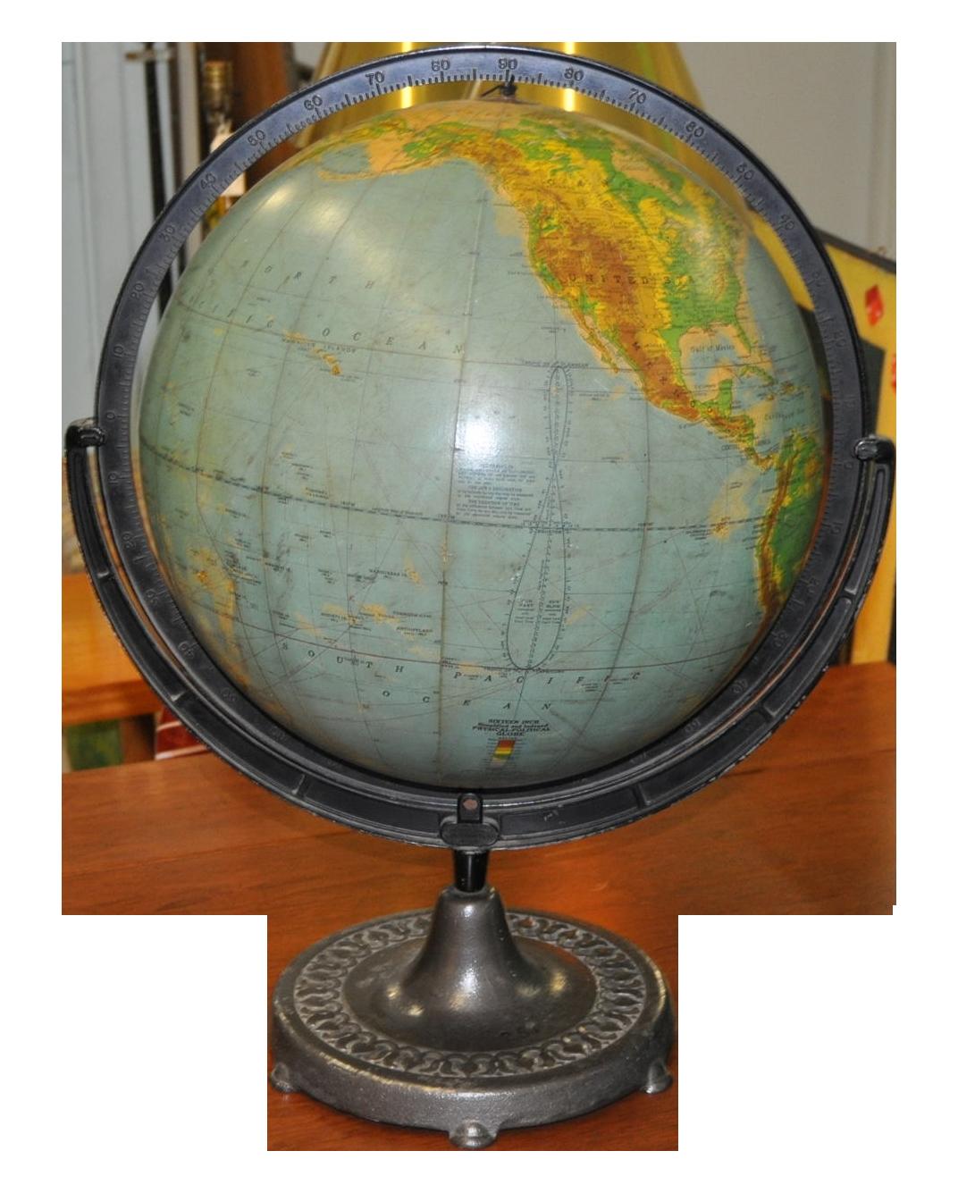 Vintage Globe On Cast Iron Stand C 1920 S Vintage Globe Globe Spinning Globe