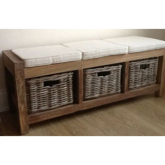 Reclaimed Teak Hall Seat With 3 Kubu Grey Natural Wicker Drawers And Cushions Hallway