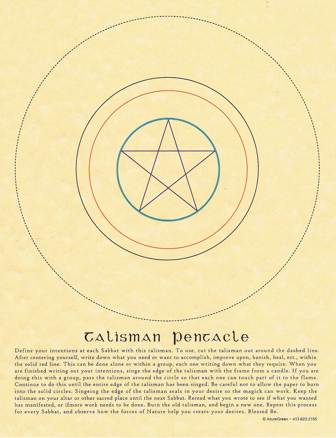 Talisman Pentacle Book of Shadows Page Grimoire BOS Wicca