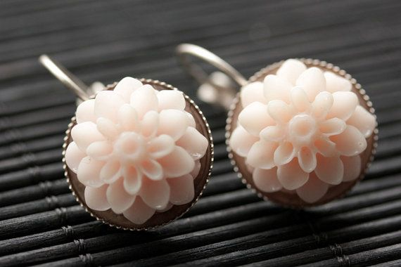 Pale Pink Dahlia Flower Earrings. French Hook Earrings. Pale Pink Flower Earrings. Lever Back Earrings. Handmade Jewelry. by StumblingOnSainthood from Stumbling On Sainthood. Find it now at http://ift.tt/1Pi6W2P!