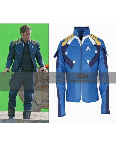 Star Trek Beyond 2016 Chris Pine Uniform Blue Costume Leather Jacket - Celebrity jackets