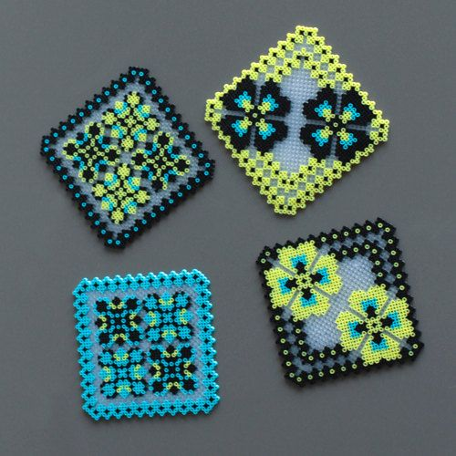 4 Glass Coasters Handmade Thousands Of Ironed Beads By