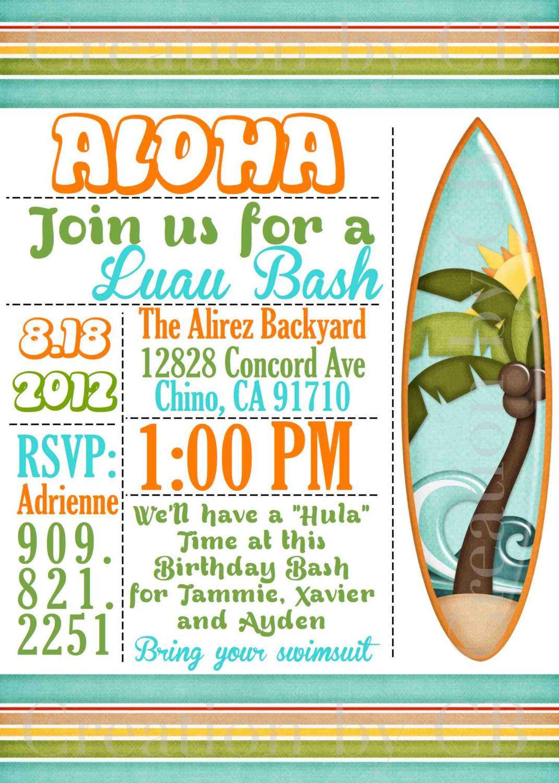 Luau Bash Invitation, Birthday Invitation, Potluck Party Invite, BBQ ...