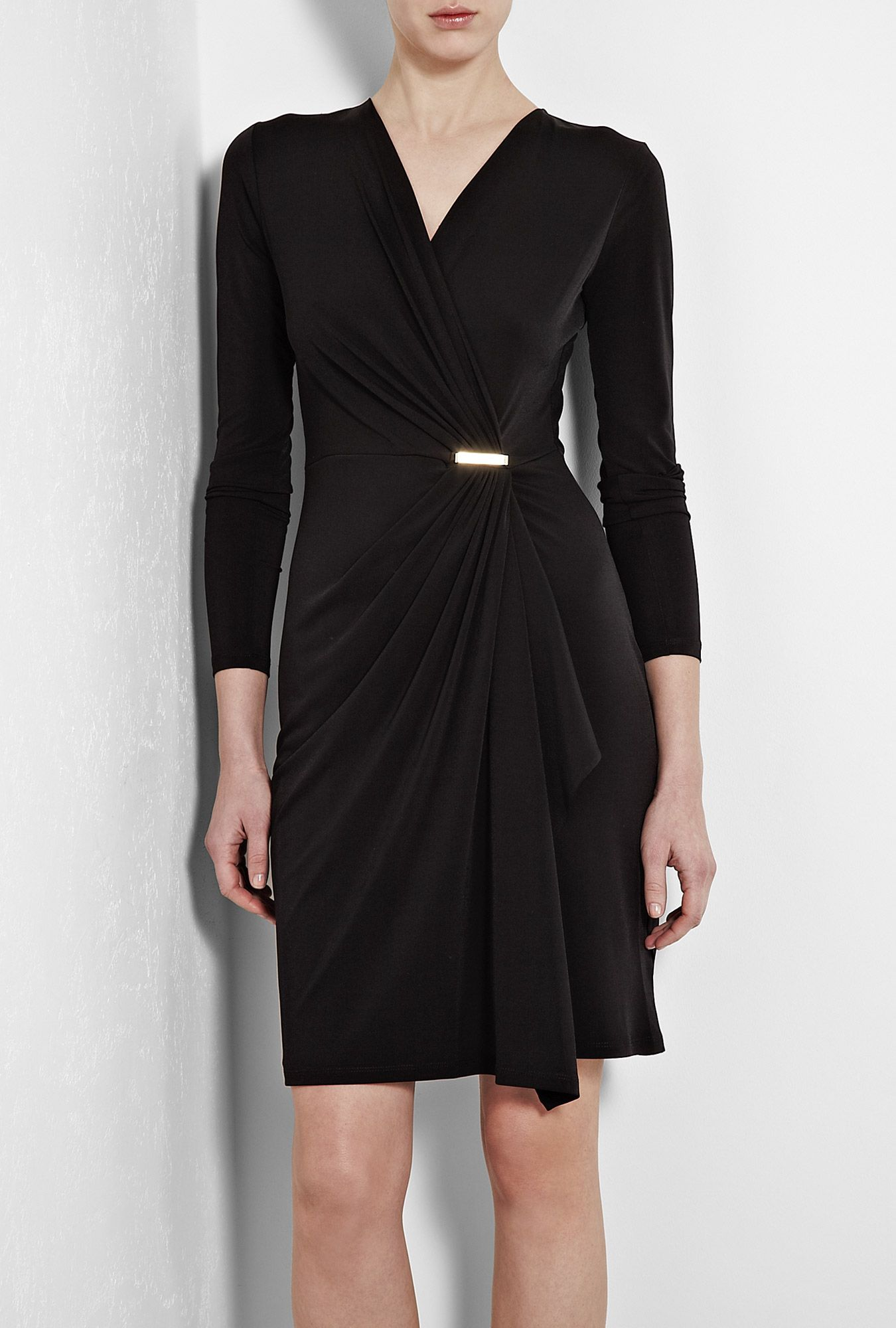 Black Long Sleeve Jersey Wrap Dress By Michael Kors Looking For A Pattern So