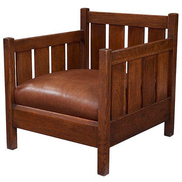 """L & JG Stickley Cube Chair, #428 27.75""""w X 29.75""""d X On"""