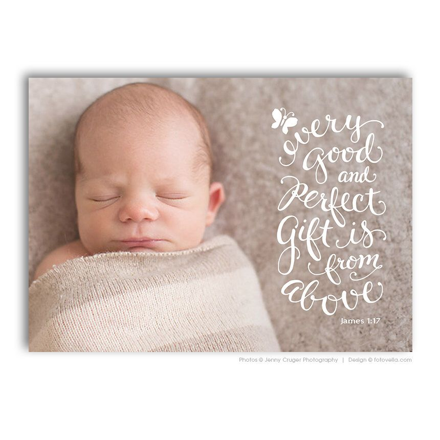 Birth Announcement Card Bible Verse Christian Themed BABY – Baby Announcement Cards Etsy