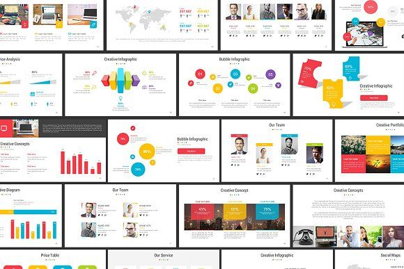 full color powerpoint templatebrandearth on @creativemarket, Presentation templates