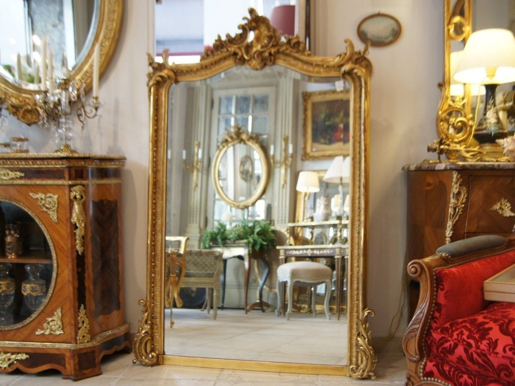 h 152 cm miroir ancien dor louis xv de style grenoble antiquites miroirs et cadres. Black Bedroom Furniture Sets. Home Design Ideas