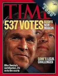 2000:Texas Governor George W Bush was eventually declared 43rd President-elect after a protracted legal battle.An inquiry carried out after the result had been decided concluded that more than 180,000 votes were thrown out as a result of poorly trained poll workers and a lack of standard procedures. It followed the Supreme Court's decision, in effect, ruled out several thousand votes. It meant George W Bush won by just 537 votes out of a total of six million in Florida.