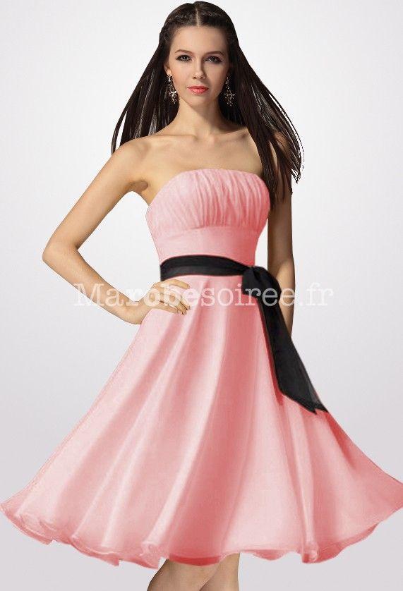 Robe de soiree rose en mousseline