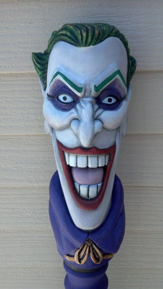 JOKER WALKING STICK Hand Carved by TreeBoneCreations on Etsy, $850.00