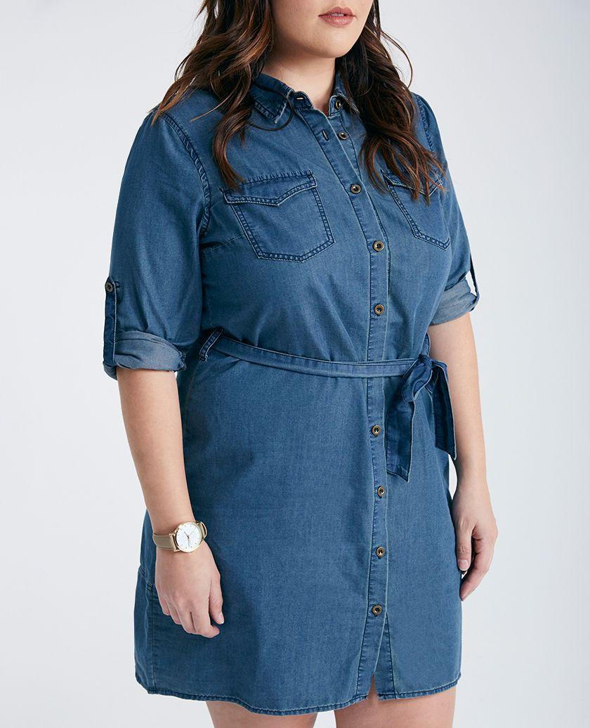 Plus Size Chambray Button Down Shirt Dress Plus Size Chambray Button