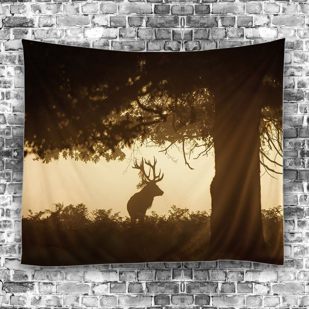 Olibay Forest Deer Tapestry Wall Hanging Retro Vintage Forest Wall ...