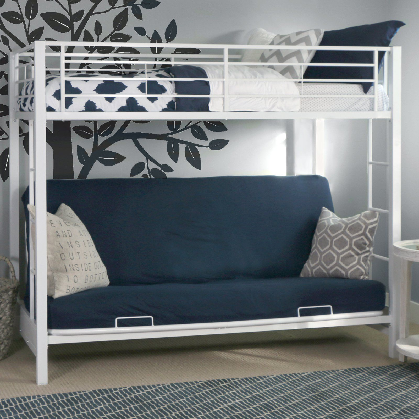 Sunrise Twin Over Futon Bunk Bed White Metal Beds