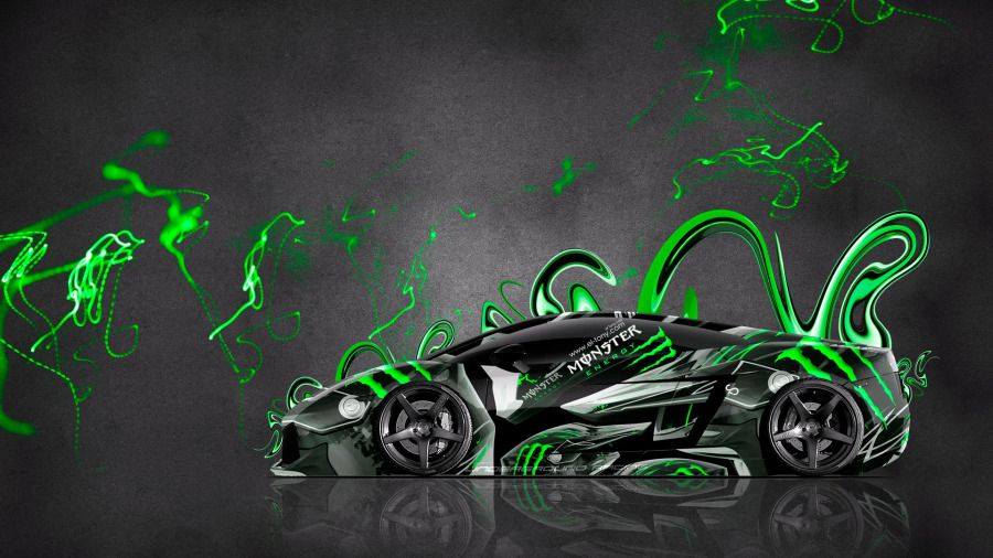 Marvelous Monster Energy Lamborghini Gallardo Side Plastic Green Effects  Car 2014 Art Photoshop HD Wallpapers Design By Tony Kokhan [www.el Tony.com]
