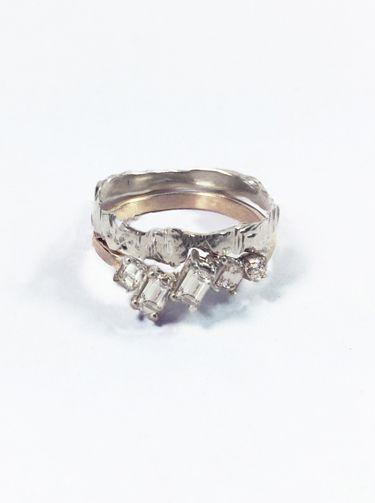 MACHA Asymmetric Diamond Ring unique custom jewelry mens wedding