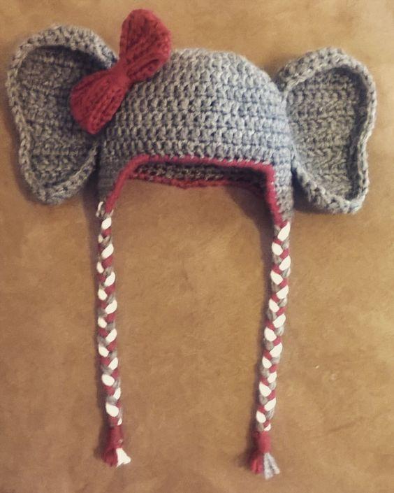 aa0f0315de4 Crochet Alabama Elephant Hat