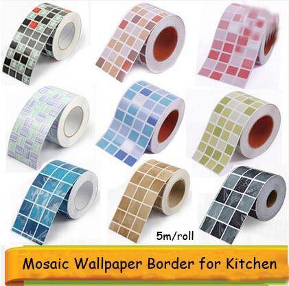 Aliexpress Com Buy 10 500cm Bathroom Wallpaper Border Waterproof Waistline Mosaic Wall Paper Kitchen Wa Bad Fliesen Fliesenaufkleber Bordure Fliesenaufkleber
