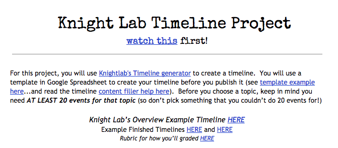 7 knight lab timeline project generator