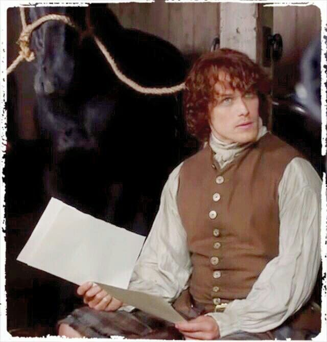 "Fans of Sam Heughan Jamie discussing the ""marriage contract""."