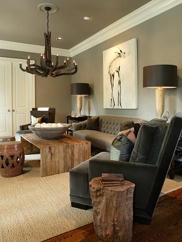 the masculine living room with grey sofas and stylish furnishings   ATLANTA DECORATORS SHOW HOUSE   Masculine living rooms ...