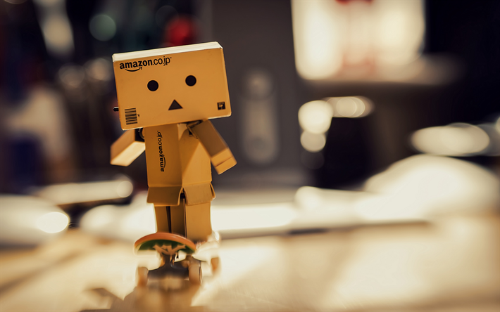 Download wallpapers Danbo, 4k, cardboard robot, skateboard