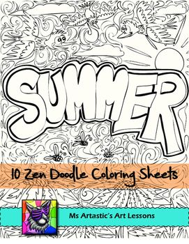 Summer Coloring Pages, Zen Doodles work Middle school