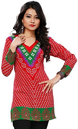 5fbf75632a6 India Tunic Top Kurti Womens Printed Blouse Indian Apparel (Red, M) Maple  Clothing
