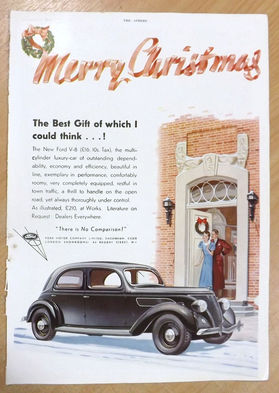Art Deco Ford V 8 Advertisement The Sphere 1936 Vintage