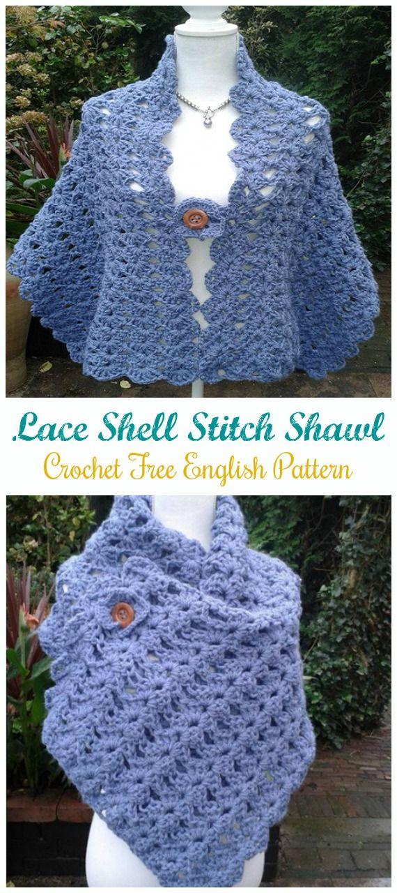 Lace Shell Stitch Shawl Crochet Free Pattern - Crochet & Knitting