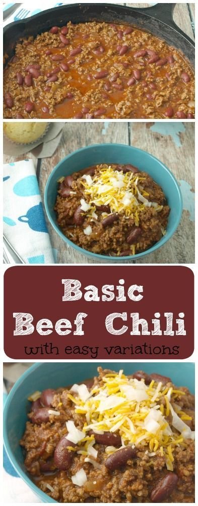 Basic Beef Chili -   16 ground recipes kidney beans